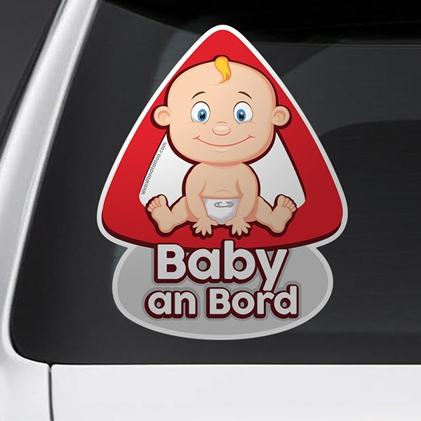 Car and Motorbike Stickers: Baby on board in German