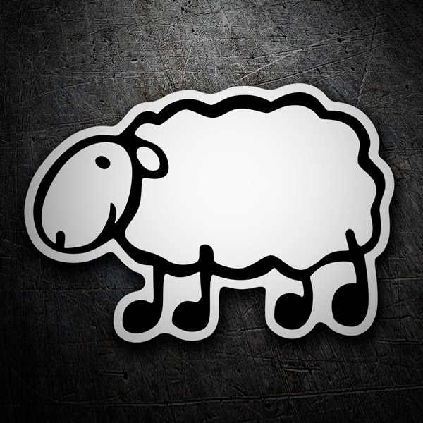 Car and Motorbike Stickers: Menhaden white sheep