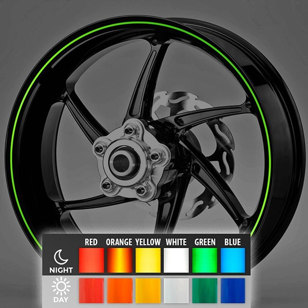 Car and Motorbike Stickers: Reflective rim stripes kit 2 wheels 3 mm.