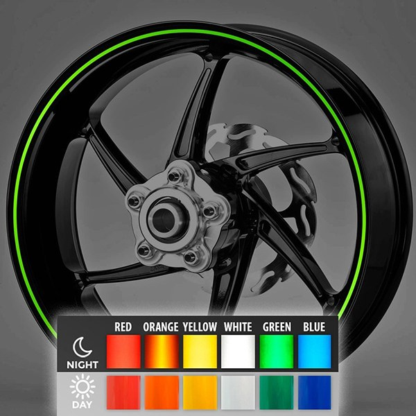 Car and Motorbike Stickers: Reflective rim stripes kit 2 wheels 4 mm.