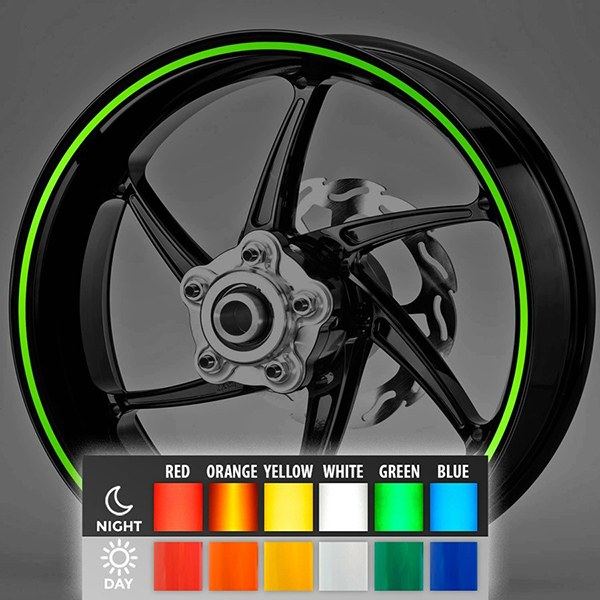 Car and Motorbike Stickers: Reflective rim stripes kit 2 wheels 6 mm.