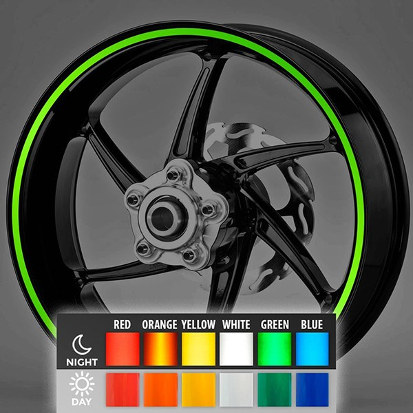 Car and Motorbike Stickers: Reflective rim stripes kit 2 wheels 8 mm.