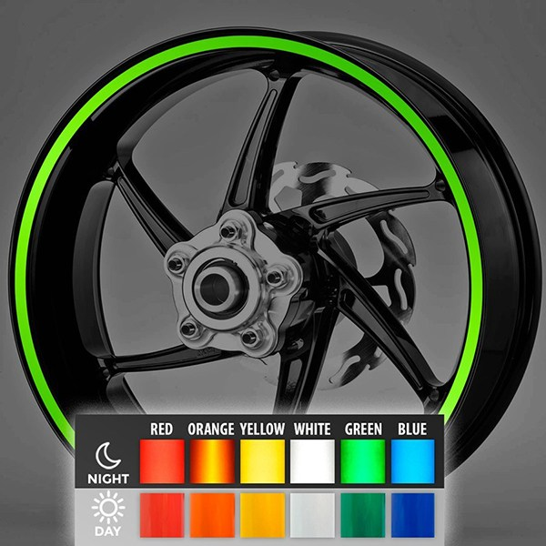 Car and Motorbike Stickers: Reflective rim stripes kit 2 wheels 10 mm.