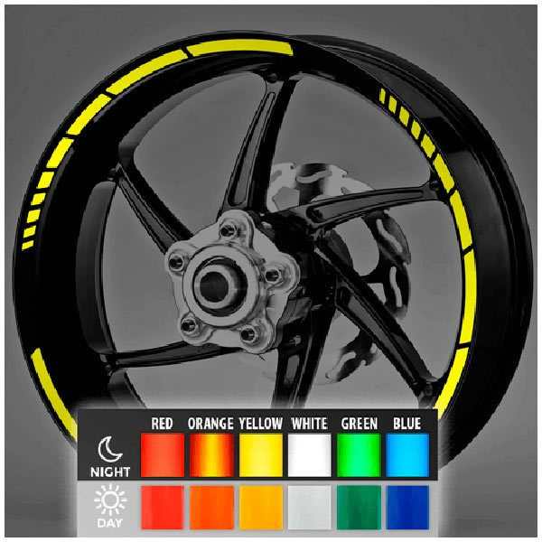 Car and Motorbike Stickers: MotoGP Style Reflective rim stripes 2 wheels 10mm.