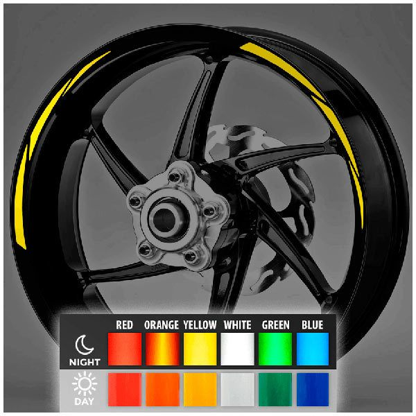 Car and Motorbike Stickers: Reflective MotoGP Style 2 rim stripes kit 2 wheels