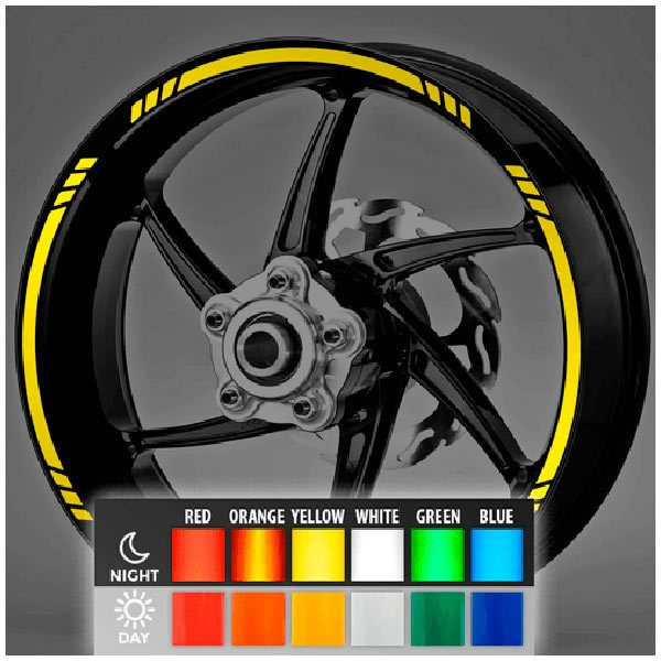 Car and Motorbike Stickers: Reflective MotoGP Style 3 rim stripes kit 2 wheels