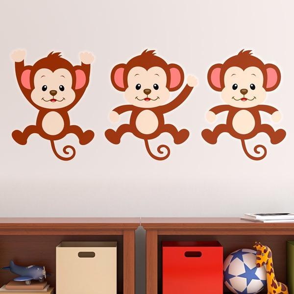 Stickers for Kids: Kit 3 monkeys