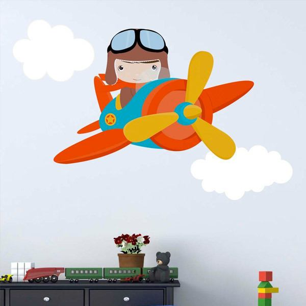 Stickers for Kids: Plane in the clouds