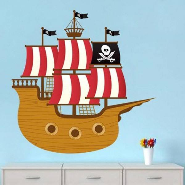 Stickers for Kids: Small pirate boat
