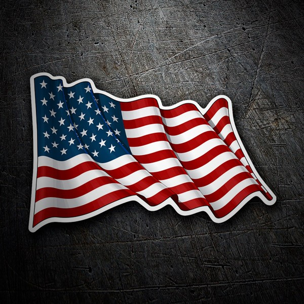 Car and Motorbike Stickers: USA Flag waving