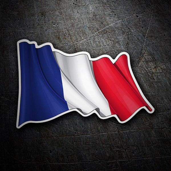 Car and Motorbike Stickers: Flag of France waving