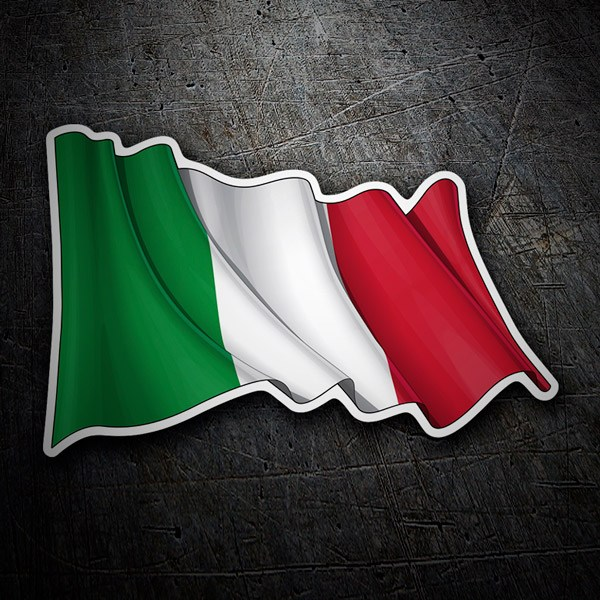 Car and Motorbike Stickers: Italy Flag waving