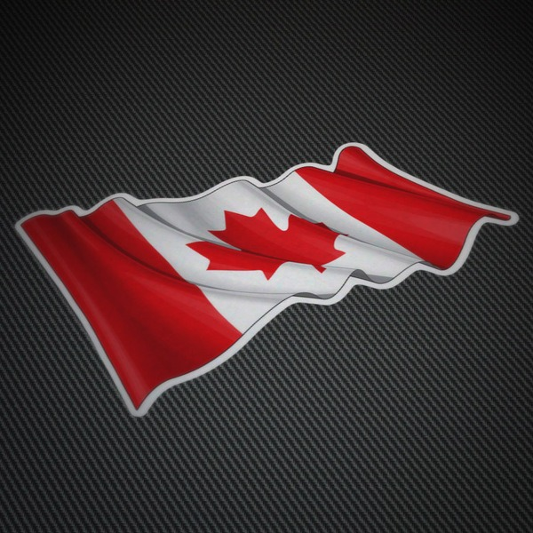 Car and Motorbike Stickers: Flag of Canada waving