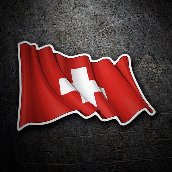 Car and Motorbike Stickers: Flag of Switzerland waving