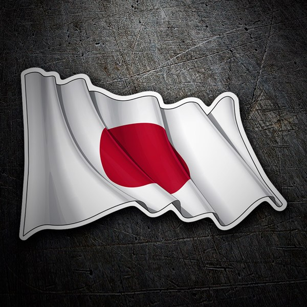 Car and Motorbike Stickers: Flag of Japan waving