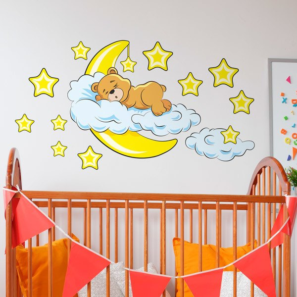 Stickers for Kids: Bear in the clouds and moon yellow