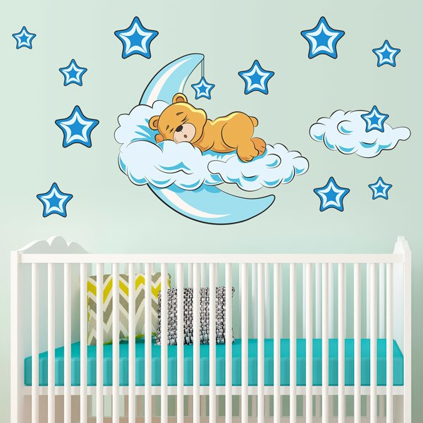 Stickers for Kids: Teddy bear in the clouds and moon blue