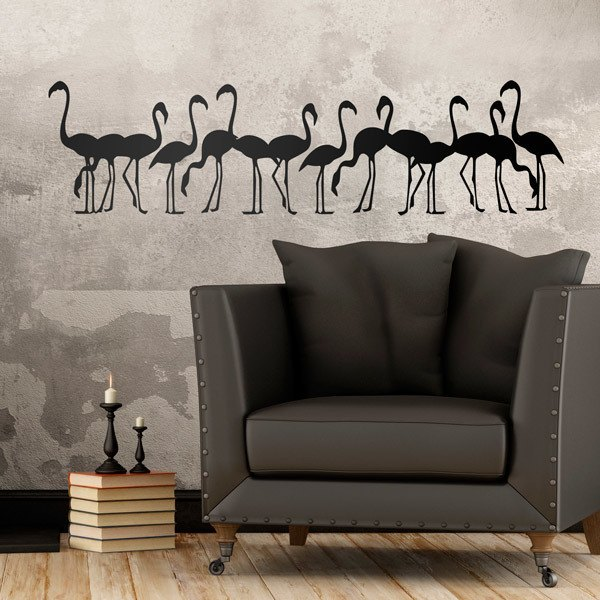 Wall Stickers: Flock of flamingos