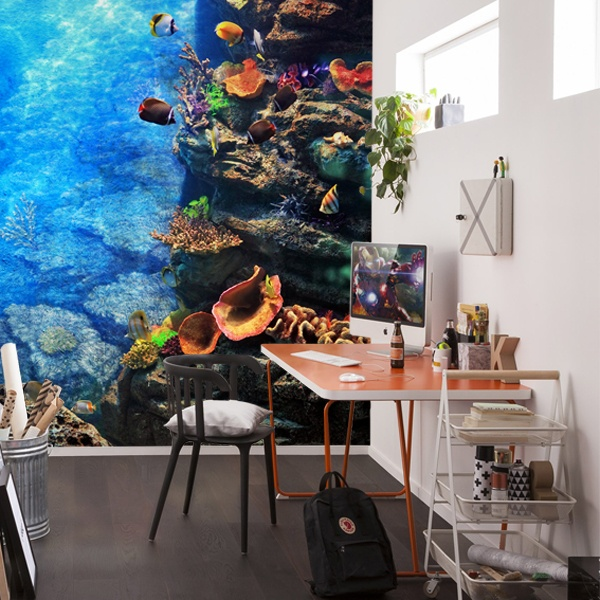 under the ocean blue coral reef wall mural under the sea photo wallpaper