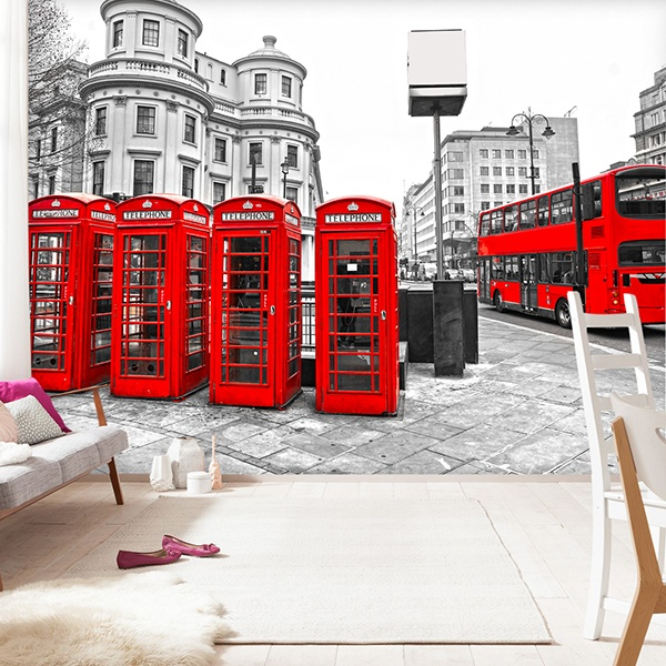Wall Murals: London in Red