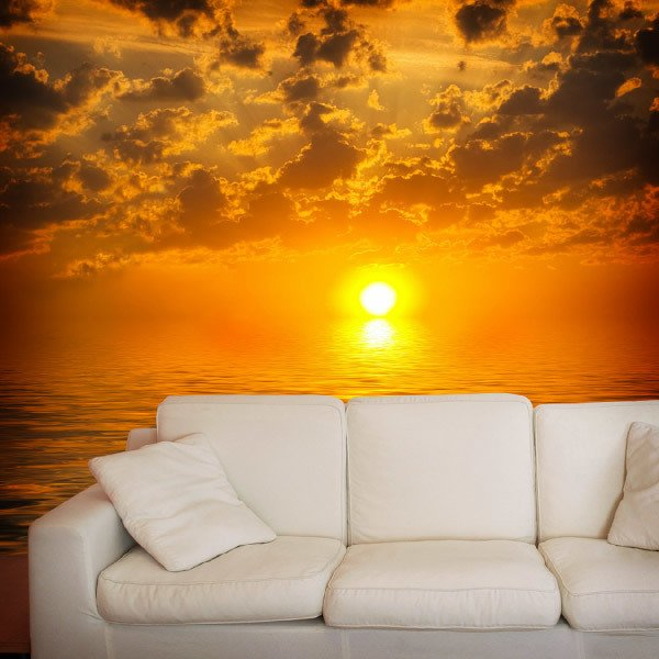 Wall murals sunset over the sea for Beach sunset mural