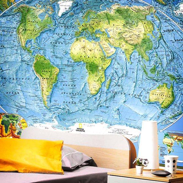 world map wall murals
