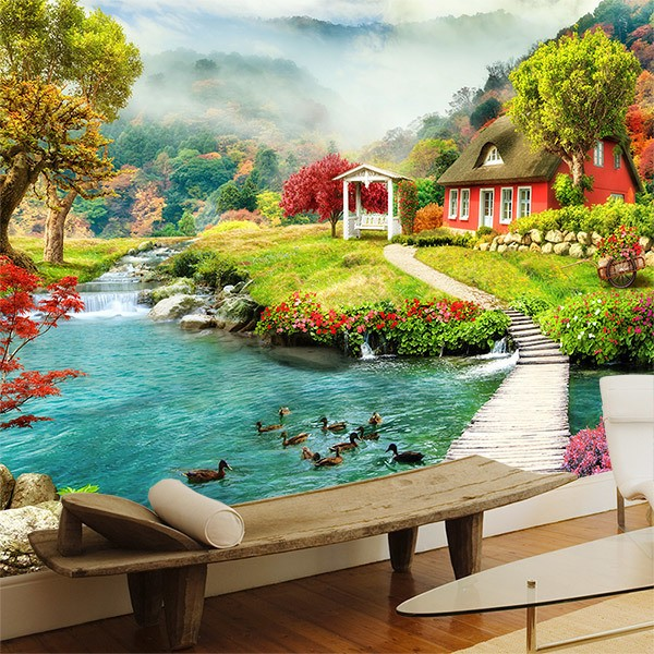 Wall Murals: Cottage by the river