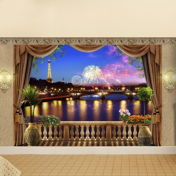 wall mural of a night festive parisian