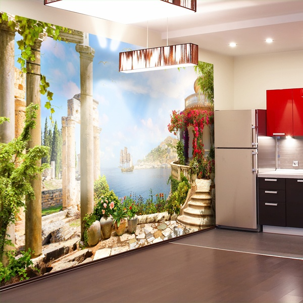 wall mural viewpoint in greece. Black Bedroom Furniture Sets. Home Design Ideas