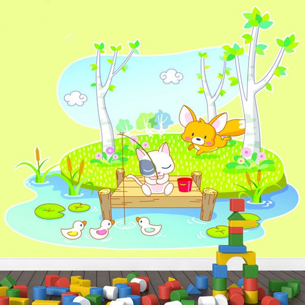 Stickers for Kids: Animals fishing