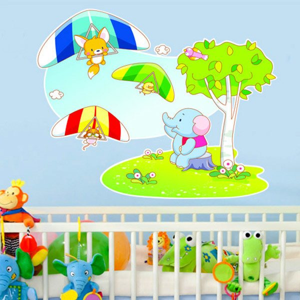 Stickers for Kids: Hang gliding animals