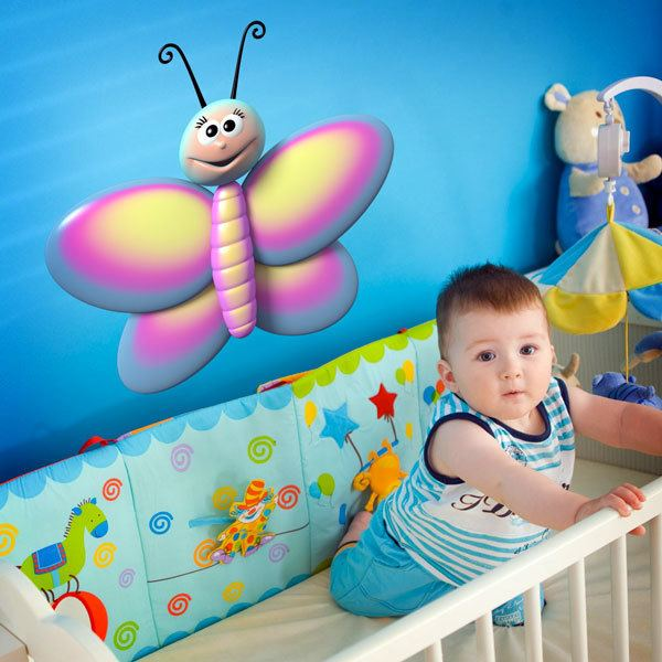 Stickers for Kids: Blue, pink and yellow butterfly