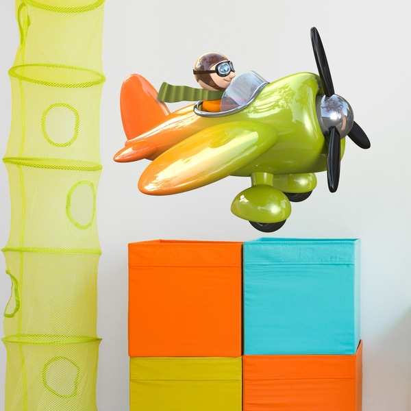 Stickers for Kids: Green and orange Airplane