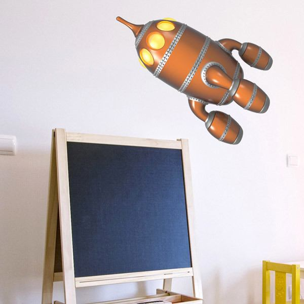 Stickers for Kids: Rocket brown