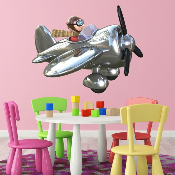 Stickers for Kids: chrome plane