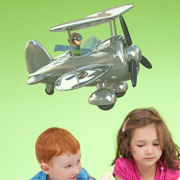 Stickers for Kids: Biplane silver