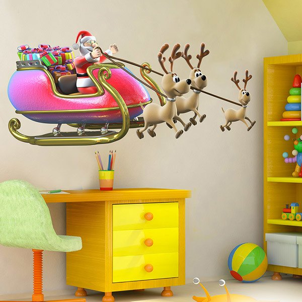 Wall Stickers: Santa Claus in his sleigh full of gifts