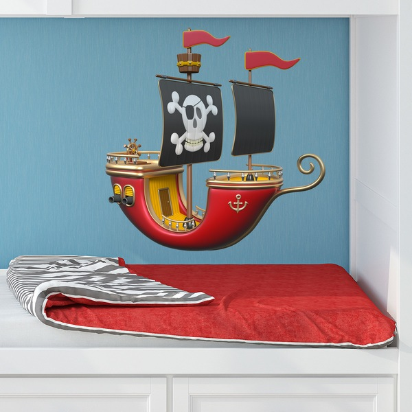 Stickers for Kids: Red pirate ship