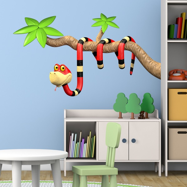 Stickers for Kids: Snake tricolor on branch