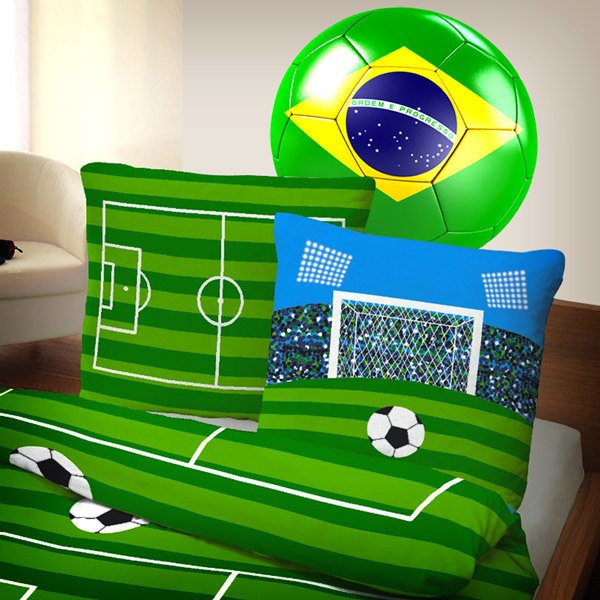 Wall Stickers: Brazil Flag Soccer Ball