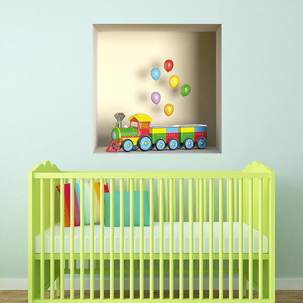Wall Stickers: Niche Train of colors and balloons