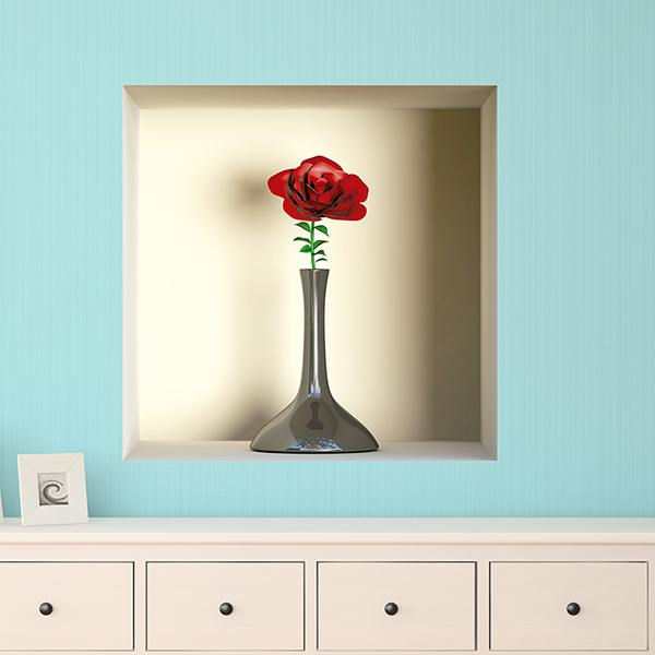 Wall Stickers: Niche vase with a rose