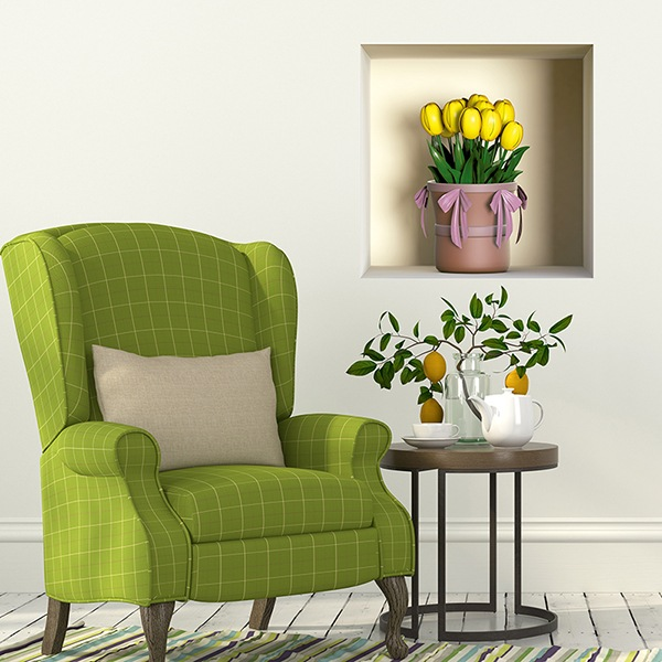 Wall Stickers: Niche vase of yellow tulips