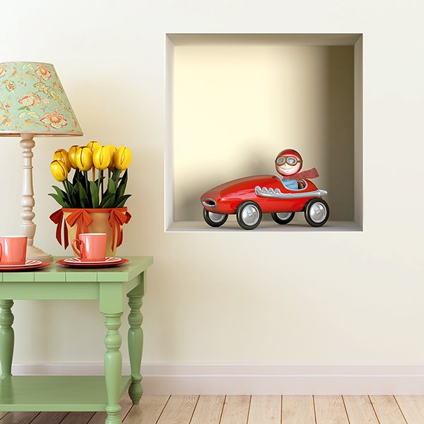 Wall Stickers: Niche red toy car