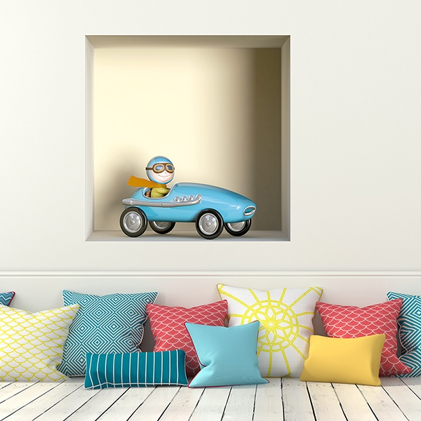 Wall Stickers: Niche blue toy car