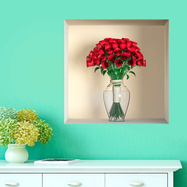 Wall Stickers: Vase with roses niche