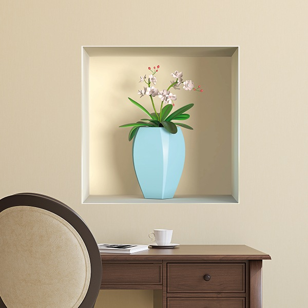 Wall Stickers: Niche blue vase