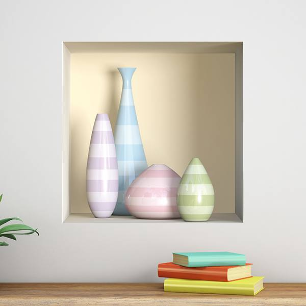 Wall Stickers: Niche vases of colors