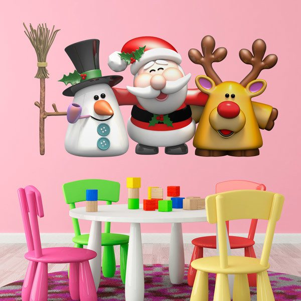 Wall Stickers: Snowman, Santa Claus and reindeer Rudolph