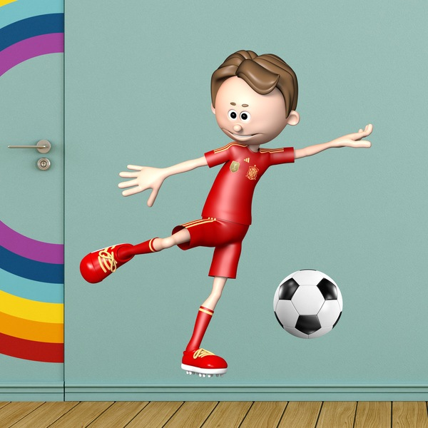 Wall Stickers: Soccer player making a Forehand